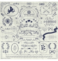 Pen Drawing Rustic Floral Design Elements vector image