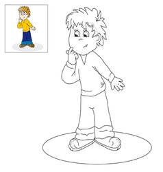 Picture for coloring thoughtful boy vector