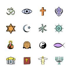 Religion comics icons set cartoon vector