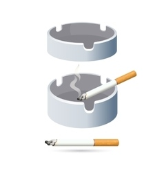 Two cigarettes and ashtrays isolated on white vector image vector image