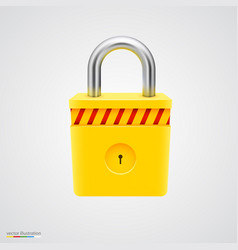 yellow striped padlock vector image