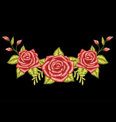 3 roses embroidery black background vector image