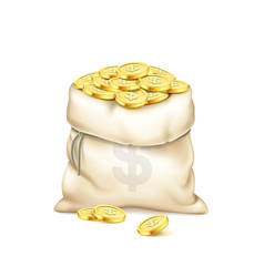 a realistic old bag with heap gold coins vector image