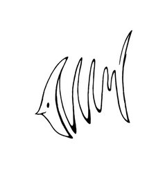 Abstact hand drawing of fish in line art style vector