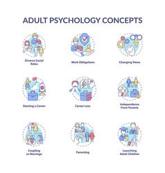 Adult psychology concept icons set vector