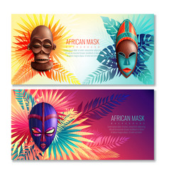 African ethnic mask banners vector