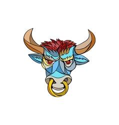 Angry bull head mosaic vector