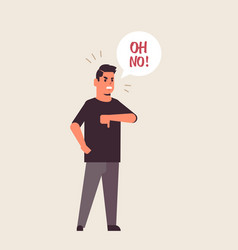 Angry unhappy man saying oh no speech balloon with vector