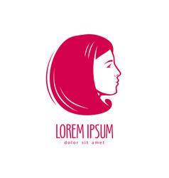 beauty salon logo or label portrait beautiful vector image