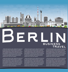 Berlin skyline with gray buildings blue sky and vector