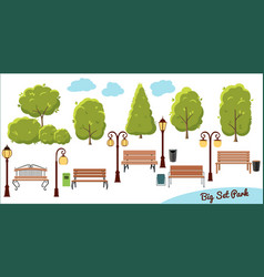 big collection elements for city park tree trash vector image