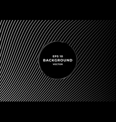 black background with wavy white gradient lines vector image