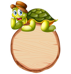 Board template with cute tortoise on white vector