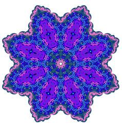 bright circular ornament purple flower mandala vector image
