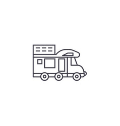 Camping van line icon sign vector