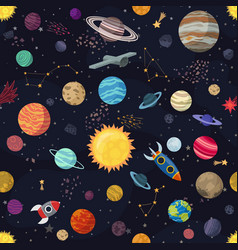 Carton seamless space with planets and spaceships vector