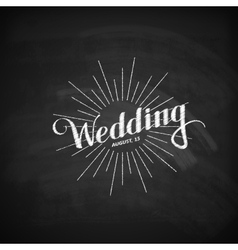 Chalk of handwritten wedding label vector