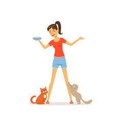 Cheerful girl feed kittens milk young woman vector
