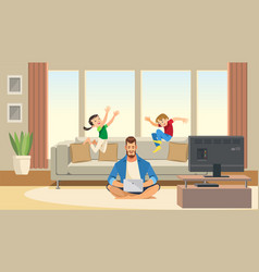 Children play and jump behind working father vector
