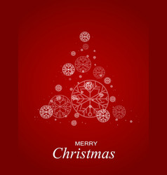 christmas tree red bokeh background snowflakes vector image