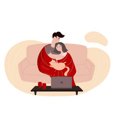colorful with young couple vector image