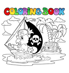 coloring book pirate parrot theme 2 vector image