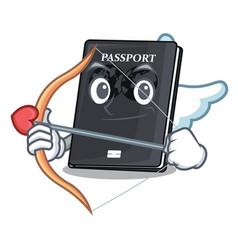 Cupid black passport in a cartoon bag vector