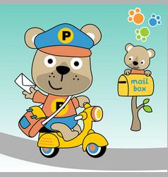 Cute bear postman cartoon vector