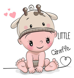 Cute cartoon baby boy in a giraffe hat vector