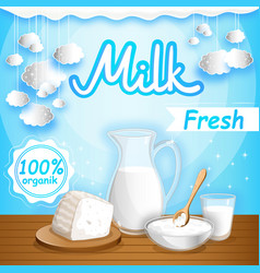 dairy banner with milk products vector image vector image