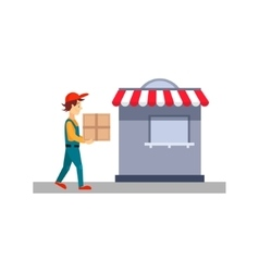 Delivery Man With a Cardboard Box vector image