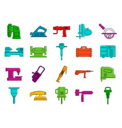 electric tool device icon set color outline style vector image