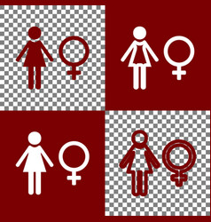 female sign bordo and white vector image