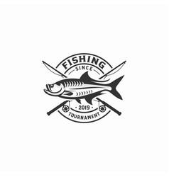 fishing tournament logo badge vector image