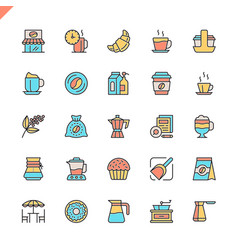 flat line coffee house coffee shop elements icons vector image