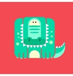 Flat square icon of a cute crocodile vector image