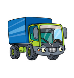 Funny small lorry with eyes vector