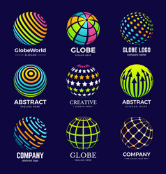 globe logo stylized circle shapes for business vector image