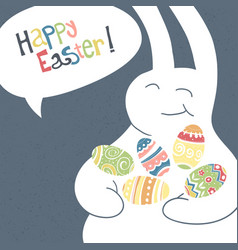 Greeting card with with white easter rabbit funny vector