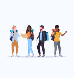 group tourists hikers with backpacks holding vector image