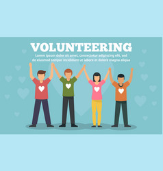 group volunteering concept banner flat style vector image