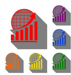growing graph with earth set of red orange vector image