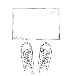 Hand drawn sneakers Frame for text vector