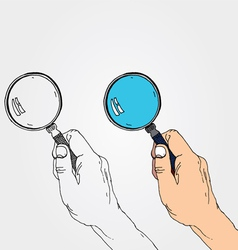 Hand with lens vector