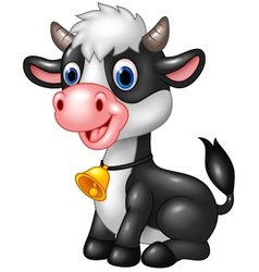 Happy animal baby cow in a sitting posing vector