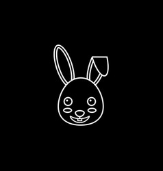 Happy easter bunny line icon vector