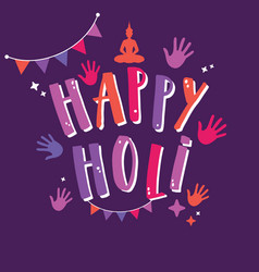 happy holi sign with colorful hands and vector image