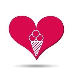 heart red cartoon ice cream icon design vector image