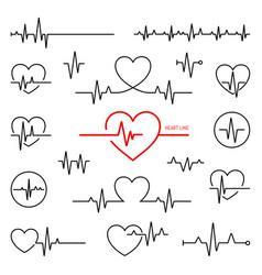 heart rhythm set electrocardiogram ecg - ekg vector image