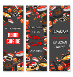 Japanese sushi asian cuisine banners vector